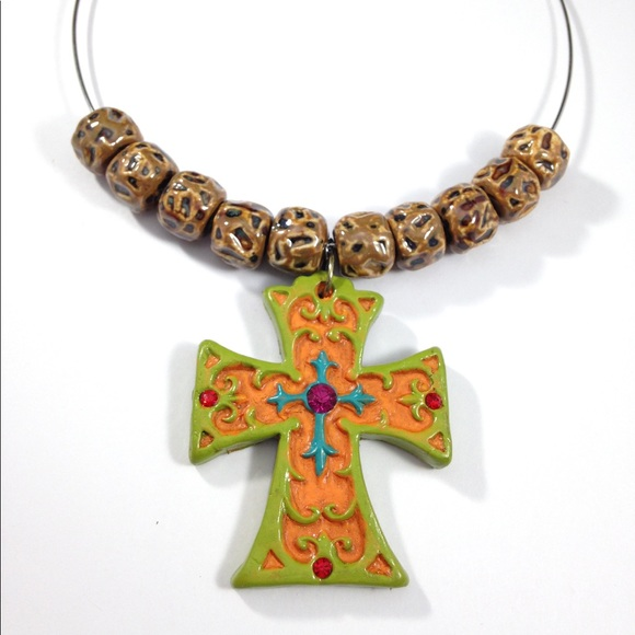 33 off mardi robyn jewelry cross pendant ceramic beads choker cross pendant ceramic beads choker necklace mozeypictures Gallery